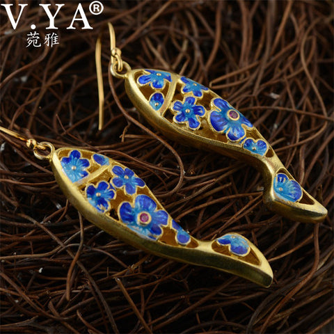 Sterling Fish Drop Unique Chinese Vintage Style Earring Ear Accessories - Gracyfy