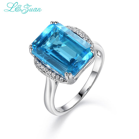 Blue Topaz Natural 8.78ct Prong Setting Fine Jewelry - With Gift Box - Gracyfy