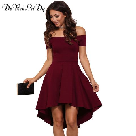 Sexy Off Shoulder Party Dresses Elegant Red Blue Black Casual