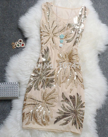 2016 New Fashion Party Dresses Handed Sequins Women Pretty Formal