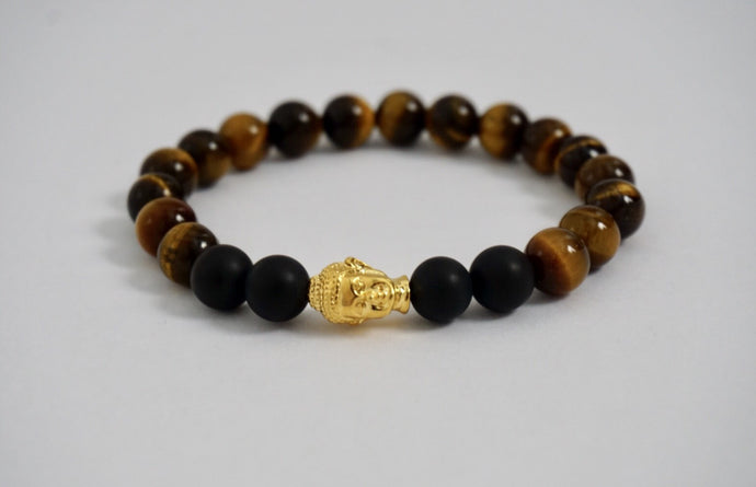 Tiger Eye and Black Matte Bead Bracelet 18kt Gold Plated Buddha Head