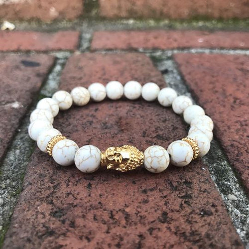 White Howlite Bracelet 18kt Gold Plated Buddha Head
