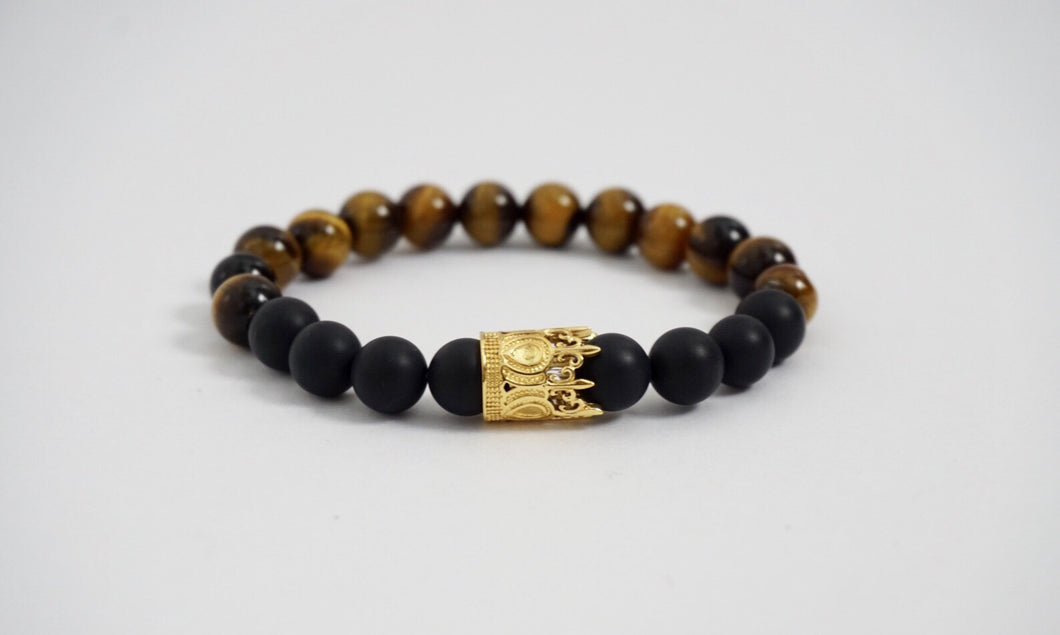 Tiger Eye and Black Matte Bead Bracelet 18kt Gold Plated Crown