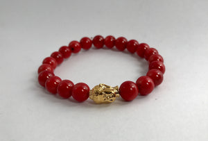 Red Bead Bracelet 18kt Gold Plated Buddha Head