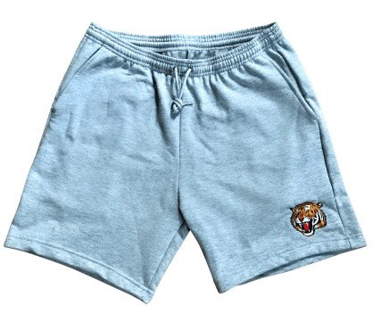 Tiger Embroidered Grey Unisex Gym Shorts