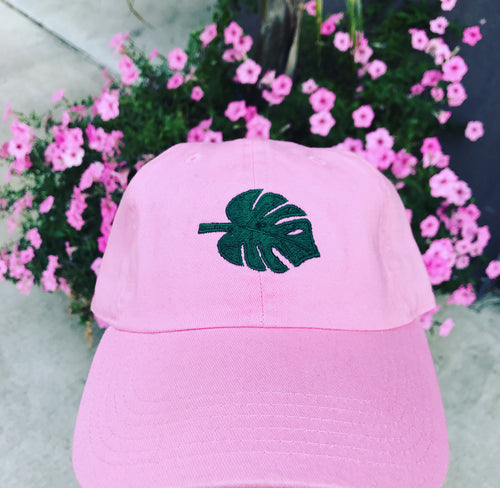 'Jungle Leaf' Dad Hat in Pink