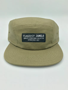 Olive Green Waxed Canvas 5-Panel Hat