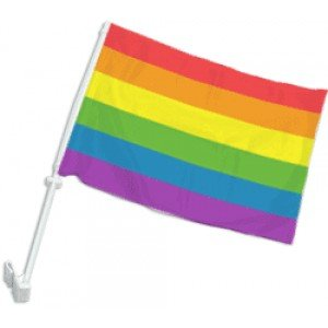 Rainbow Window Clip Car Flag