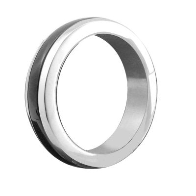 Stainless Steel/Steel Black Band Cock Ring