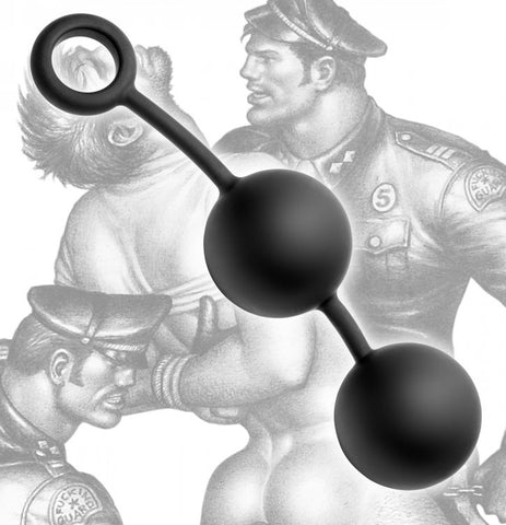 Tom of Finland Silicone Cock Ring with 2 Heavy Balls