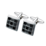 Square Black Onyx with Fibre Optic Glass Cufflinks (SC44)