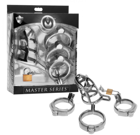 Master Series - Detained - Stainless Steel Locking Chastity Cage (SL101)