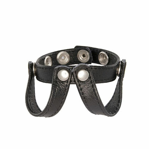 V-Type Ball Speader Leather Cockring 95072