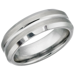 Brushed Center Polished Tungsten Ring (TUR17)