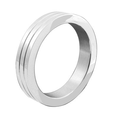 Stainless Steel Banded 2 Groove Cock Ring