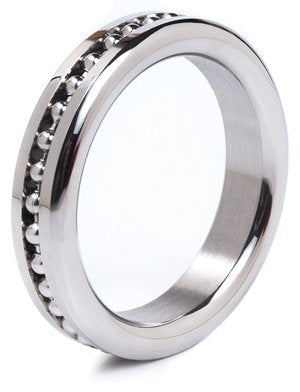 Steel Cock Ring with Ball Chain Design