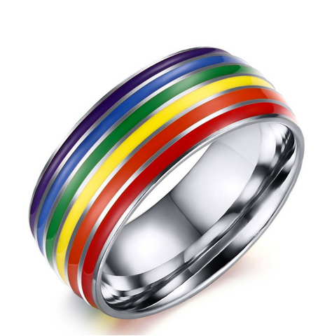 Stainless Steel Full Rainbow Enamel Ring