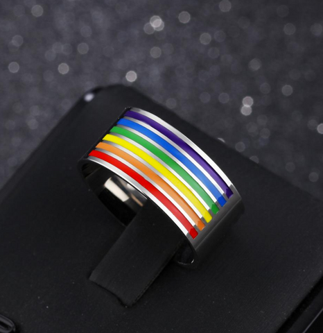 Stainless Steel Rainbow Enamel Ring