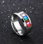 Stainless Steel Rainbow Rhinestone Ring