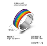 Stainless Steel Rainbow Silicone Ring