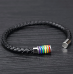 Rainbow Leather Braided Bracelet