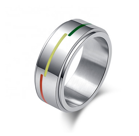 Stainless Steel Rainbow Enamel Spinner Ring