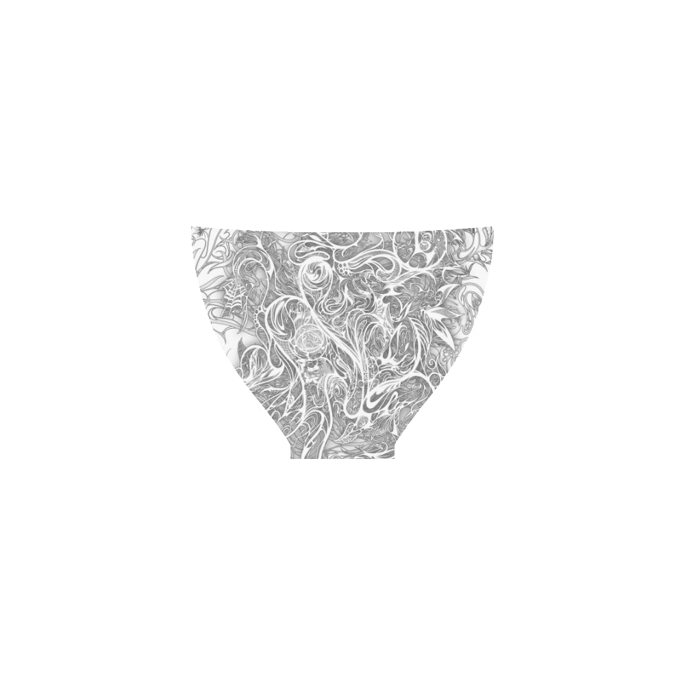 Zen Doodle Snow White Ornate Custom Bikini Swimsuit