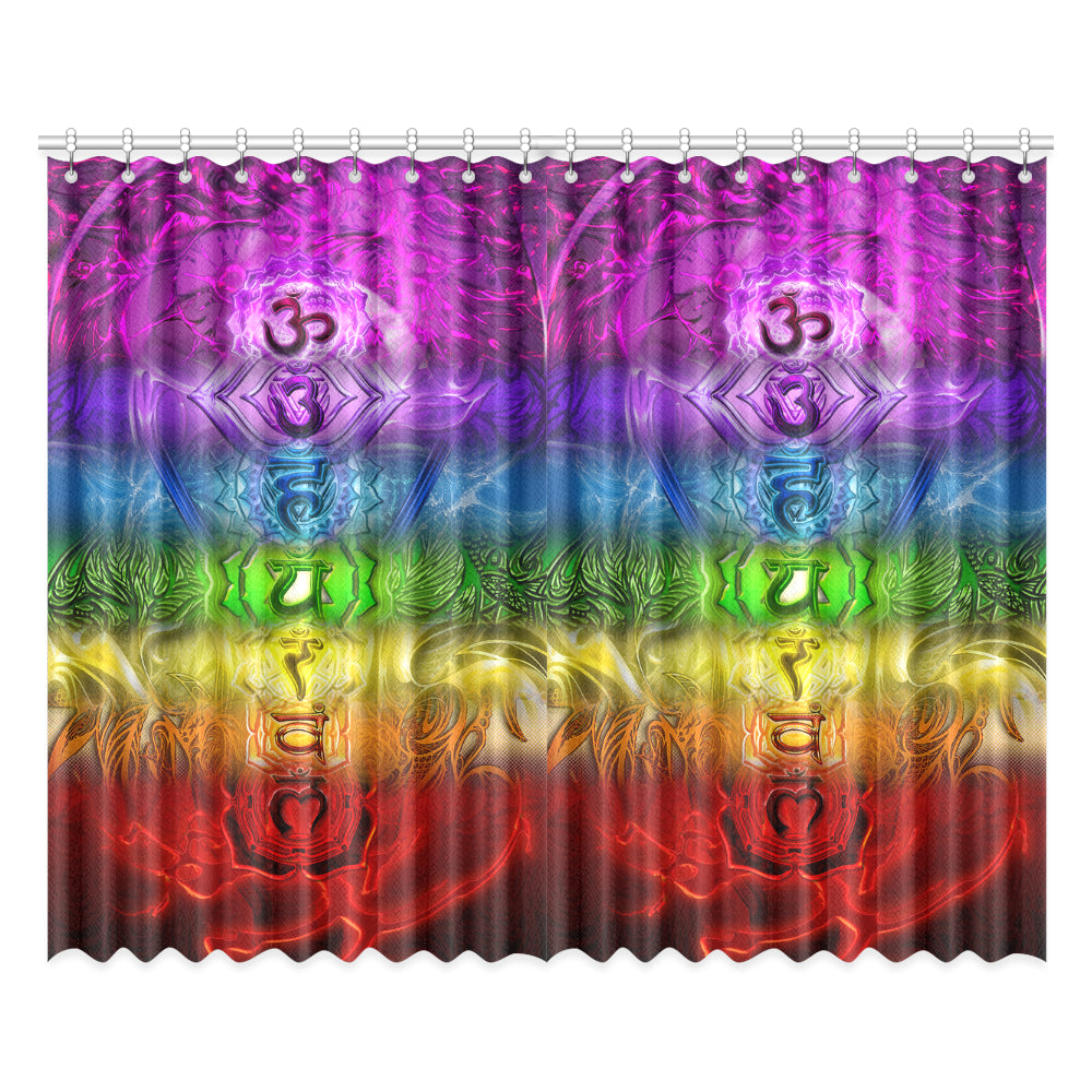 "Zen Chakra Full Spectrum Window Curtain 52""x84""(Two Pieces)"
