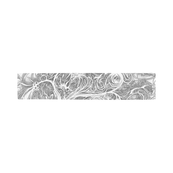Zen Doodle Snow White Ornate Scarves 12''x62'' Single Sided Print