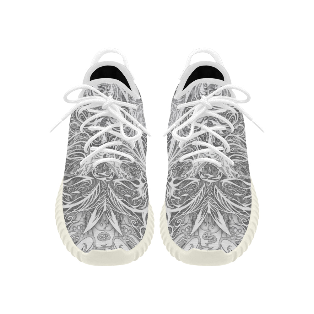Zen Doodle Snow White Ornate Grus WOMEN'S Breathable Woven Running Shoes