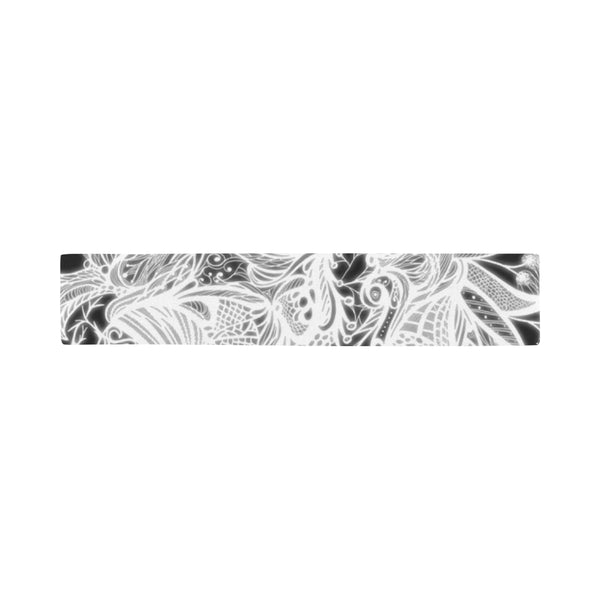 Zen Doodle White Glow Scarves 12''x62'' Single Sided Print