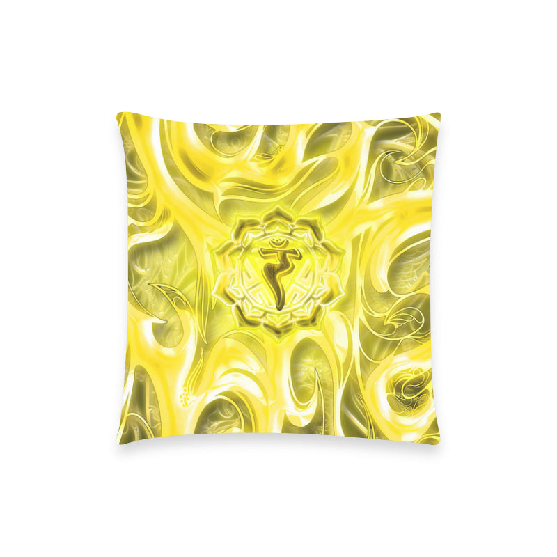 "Solar Plexus Chakra Manipura Pillow Case 18""x18"" (one side) No Zipper"