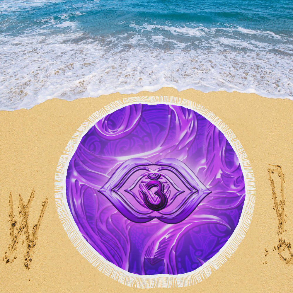 "Third Eye Chakra Anja Circular Beach Shawl 59""x 59"""