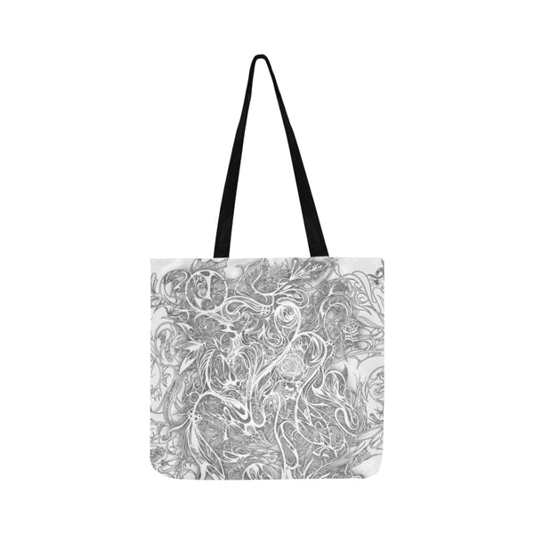 Zen Doodle Snow White Ornate Reusable Shopping Bag