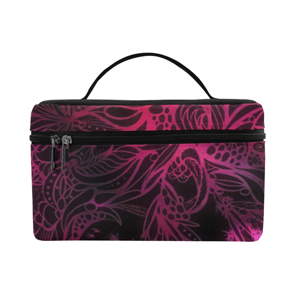 Zen Doodle Black Magenta Rose Cosmetic Bag/Large