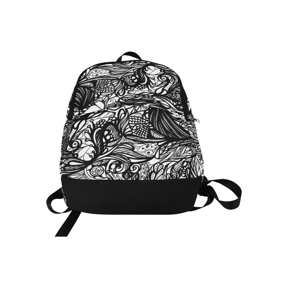 Zen Doodle Black Tribal Abstract Tangle Fabric Backpack for Adult