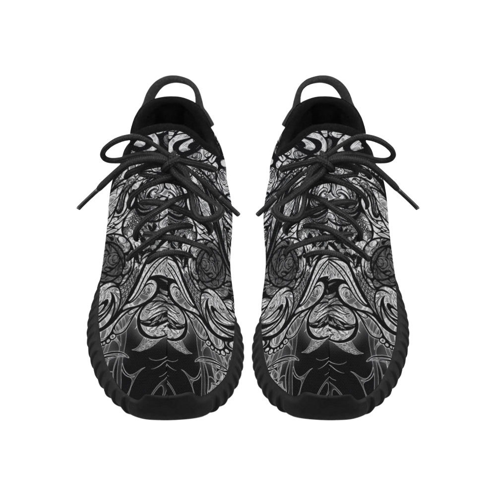 Zen Doodle Black White Ornate Grus WOMEN'S Breathable Woven Running Shoes