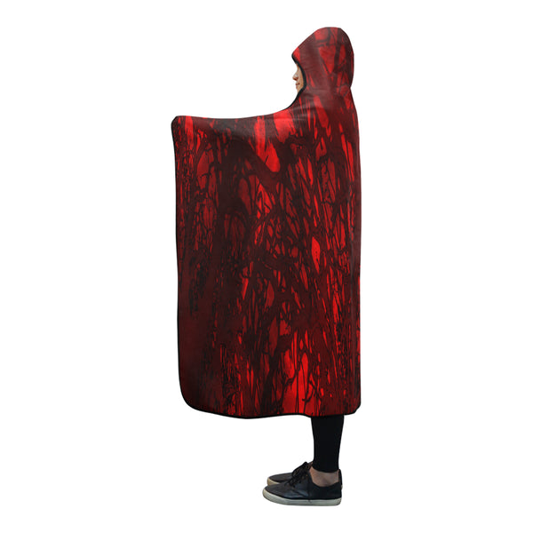 Red Carnage Blood Vein Goth Vampire Hooded Blanket 80''x56''