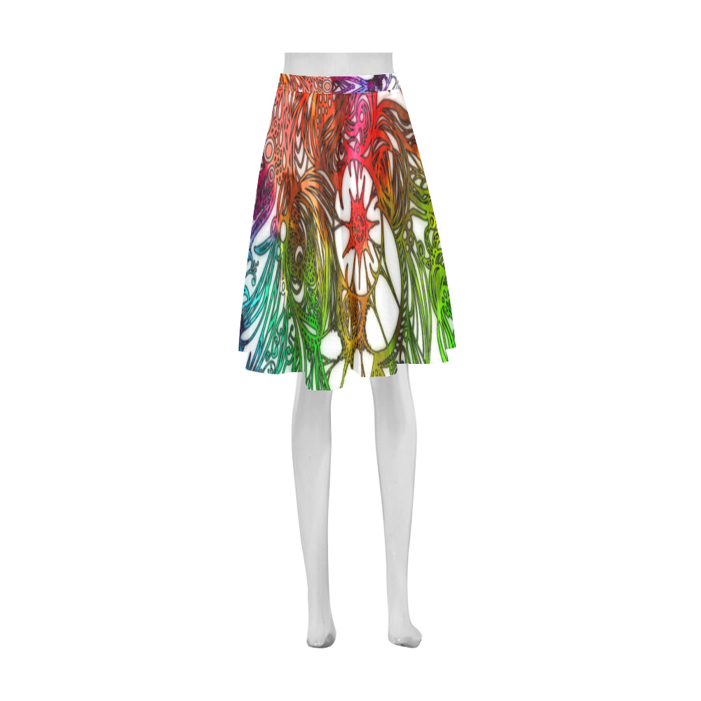 Zen Doodle Rainbow White Athena Women's Short Skirt
