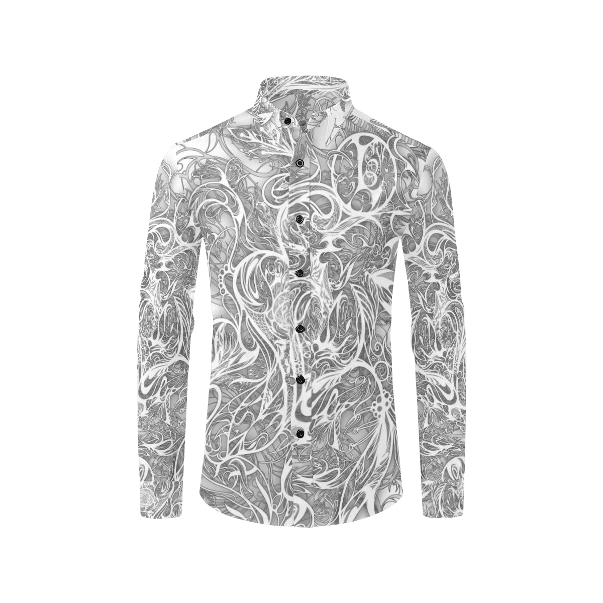 Zen Doodle 8 Snow White Ornate Men's All Over Print Casual Dress Shirt