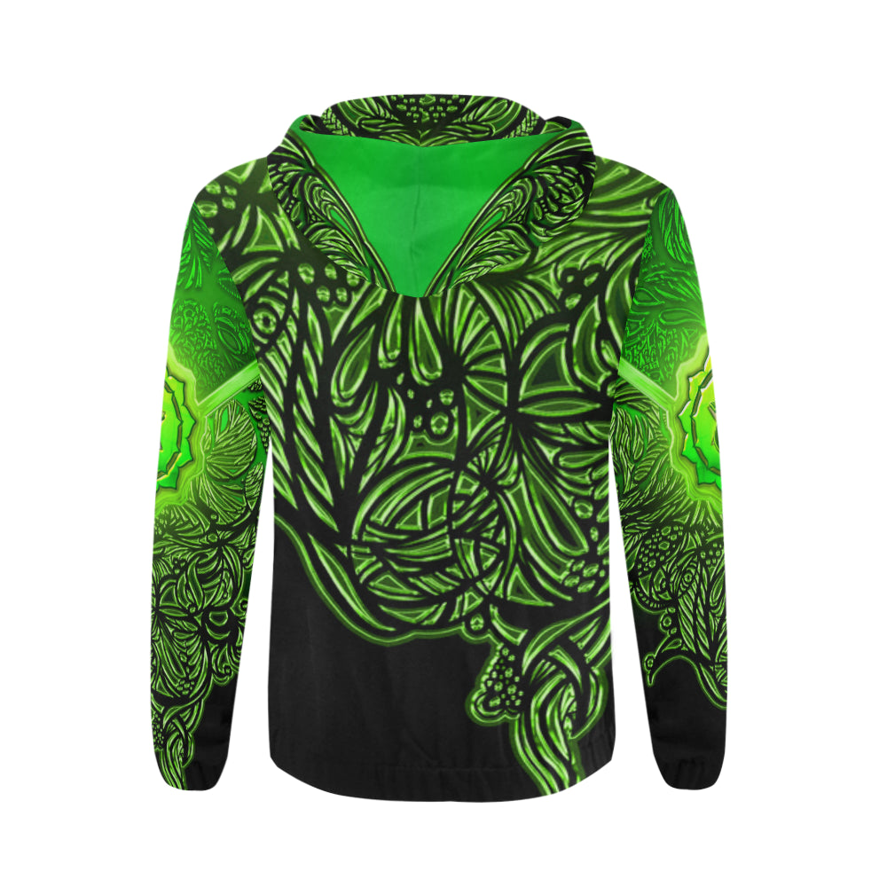 Heart Chakra Anahata All Over Print Full Zip Hoodie for Men