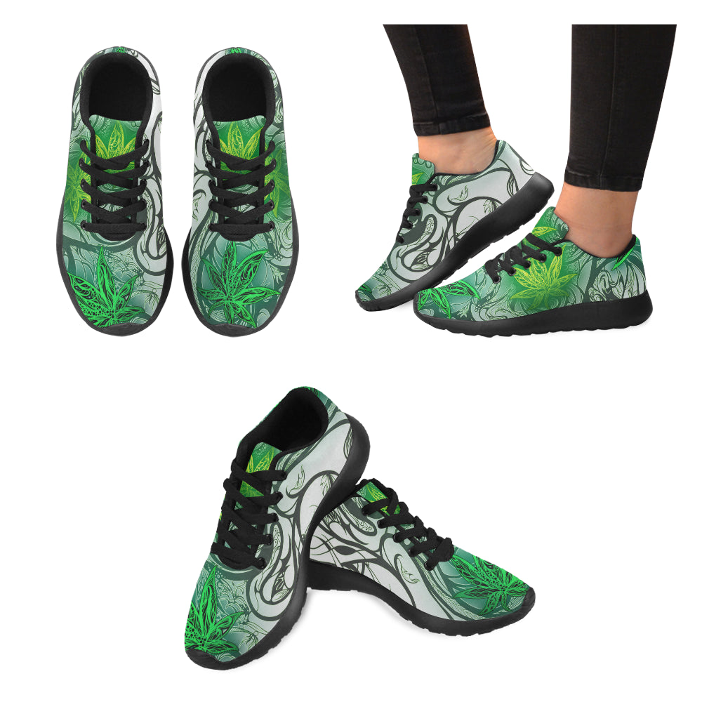 Weed Leaf White WOMEN'S Running Shoes
