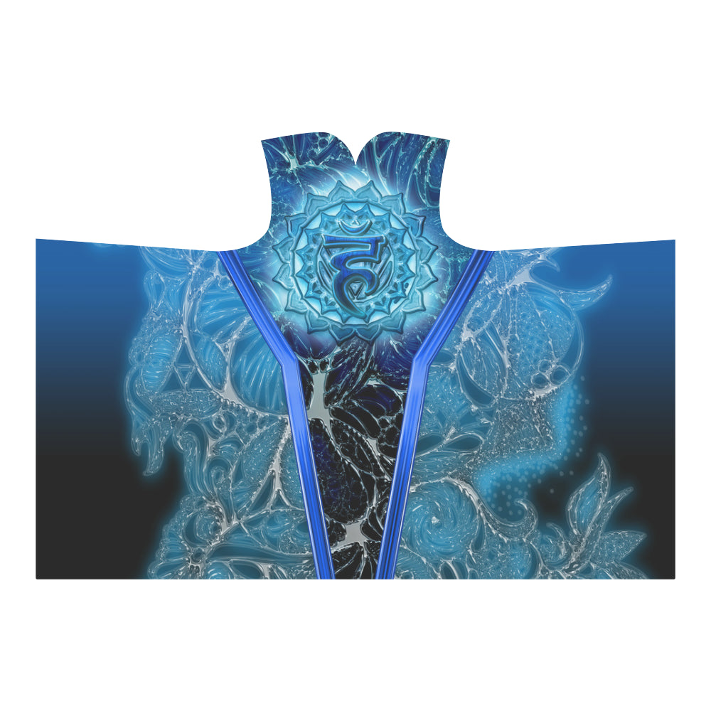 Throat Chakra Vishuddha Hooded Blanket 80''x56''