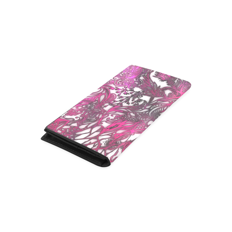 Zen Doodle White Magenta Rose Women's Leather Wallet