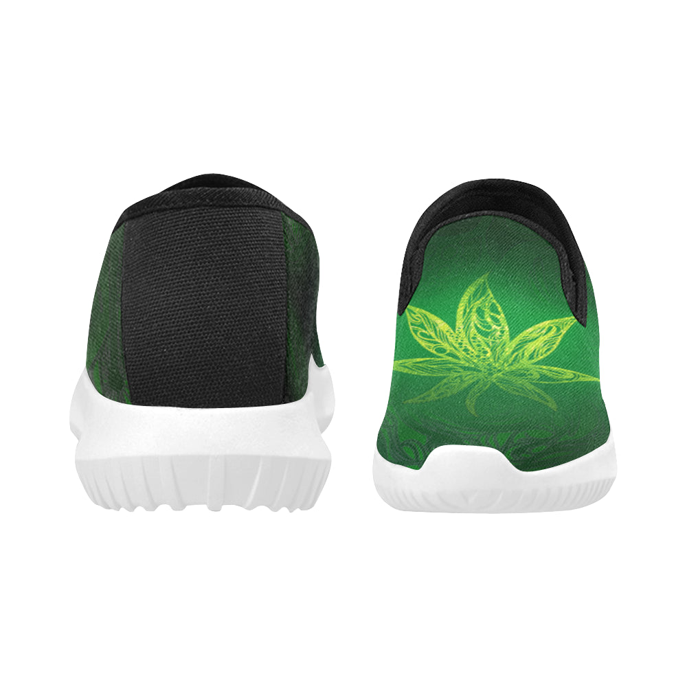 Weed Leaf Green Glow Orion Slip-on MEN'S Canvas Sneakers