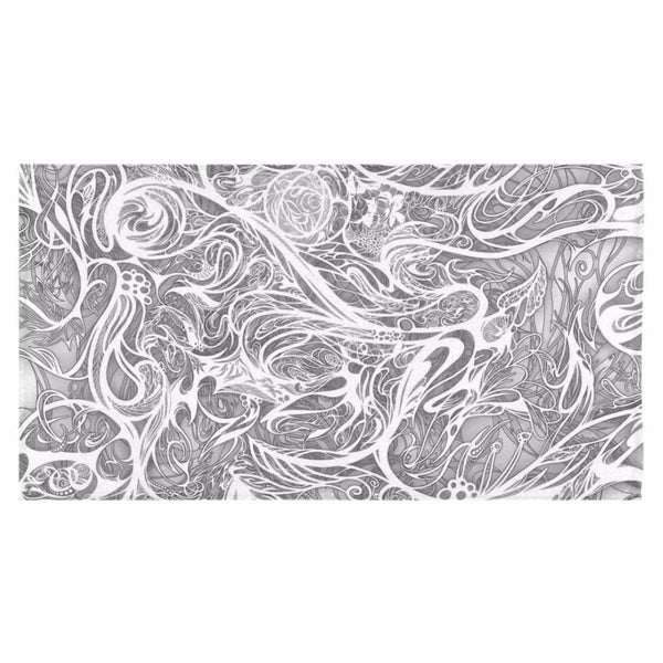 "Zen Doodle Snow White Ornate Bath Towel 30""x56"""