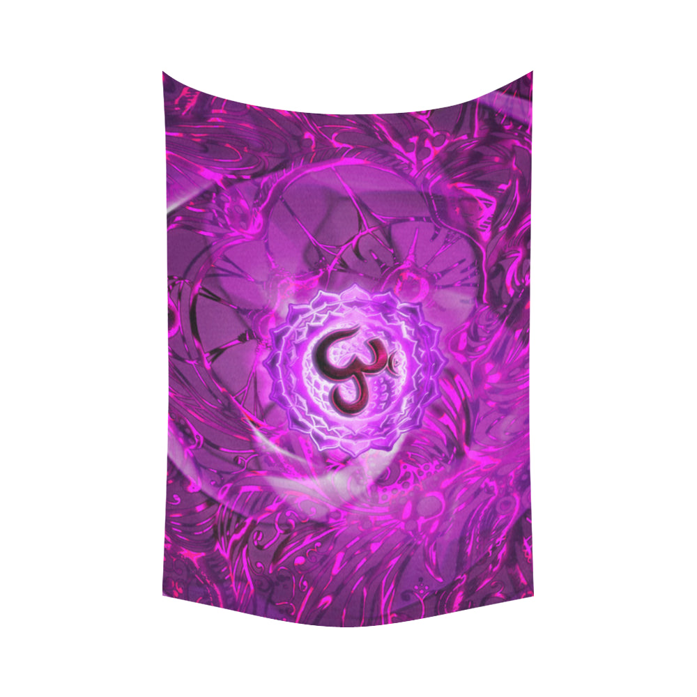 "Crown Chakra Sahasrara Cotton Linen Wall Tapestry 90""x 60"""