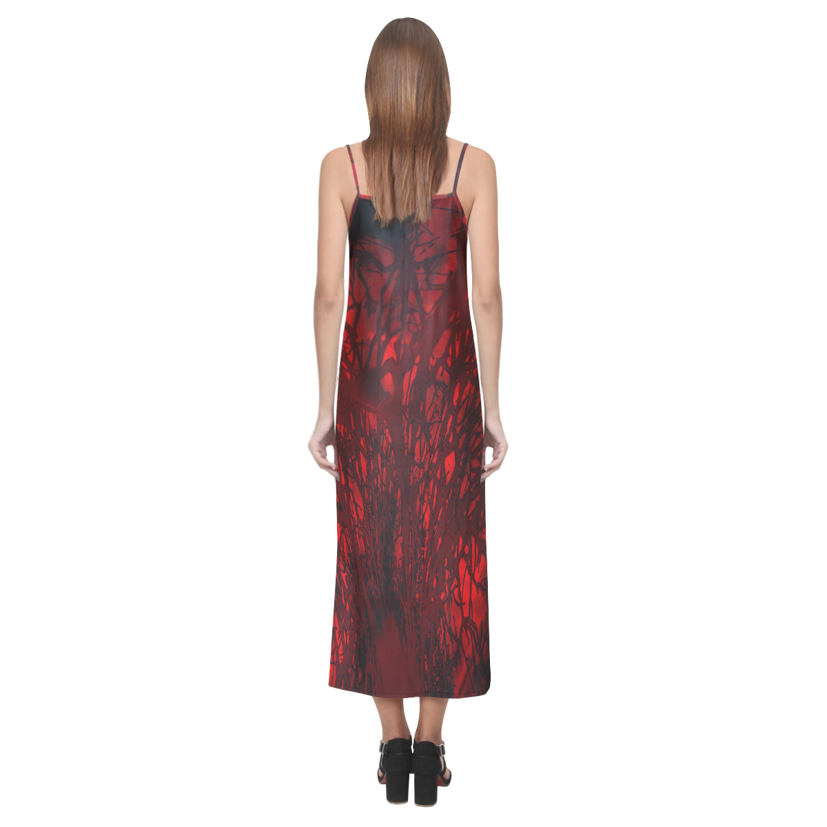 Red Carnage Blood Vein V-Neck Open Fork Long Dress