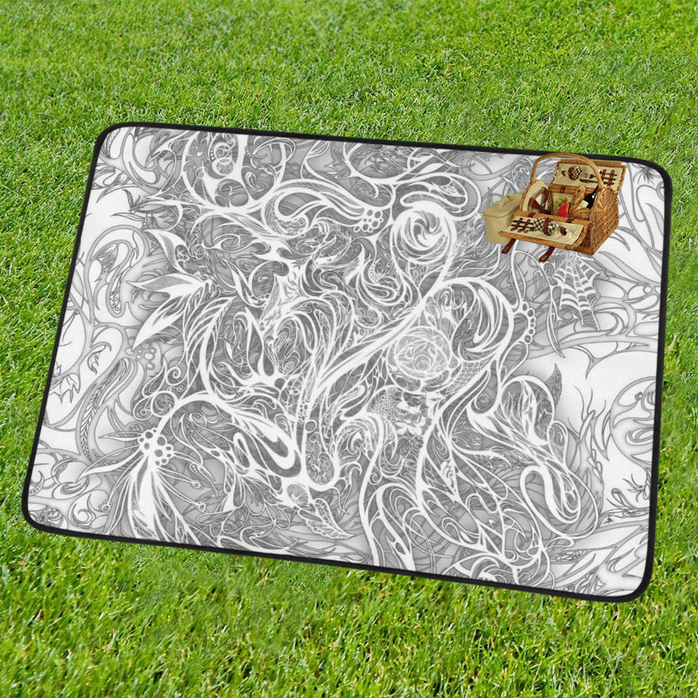 Zen Doodle Snow White Ornate Portable & Foldable Mat 60''x78''