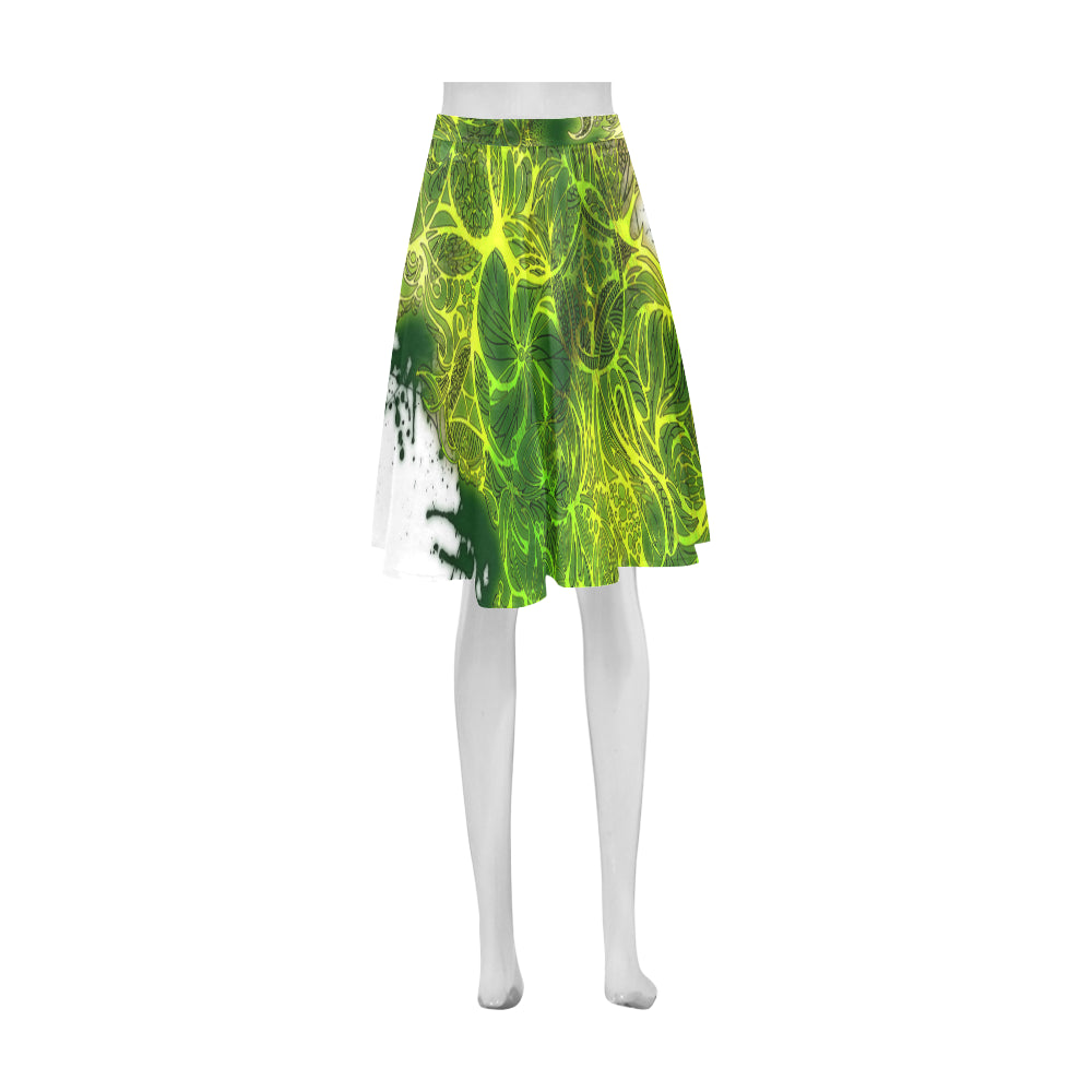 Zen Doodle Lemon Lime Athena Women's Short Skirt